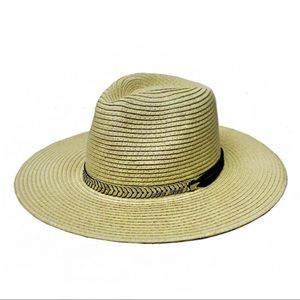 Metal band Light Tan Panama Hat